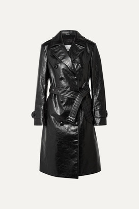 Burberry Double-breasted Leather Trench Coat - Black