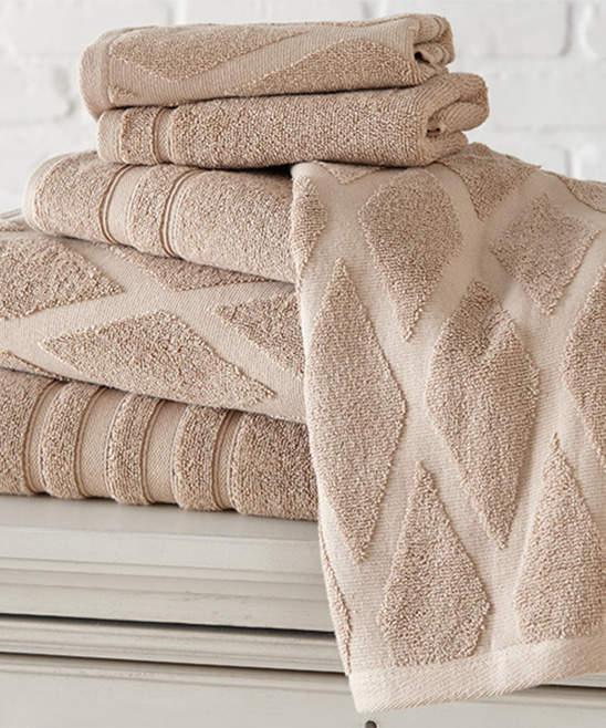 Taupe Jacquard Diamond Six-Piece Towel Set