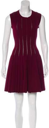 Alaia Fit and Flare Wool-Blend Dress