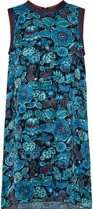 Anna Sui Metallic-trimmed Printed Silk-jacquard Mini Dress