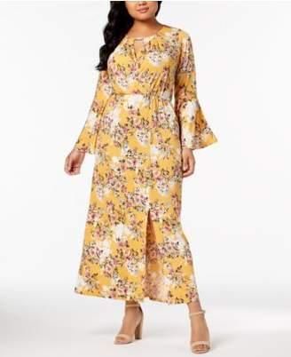 NY Collection Plus & Petite Plus Size Printed Keyhole Maxi Dress