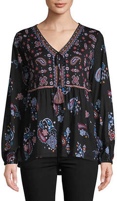 Style&Co. STYLE & CO. Long-Sleeve Embroidered Top