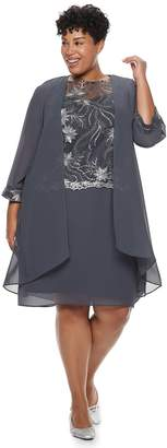 Le Bos Plus Size Embroidered Dress & Duster Jacket Set