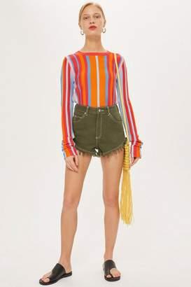Topshop Khaki Denim Shorts
