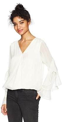 Amy Byer A. Byer Junior's Long Ruffle Sleeve Wrap Front Top (Junior's)