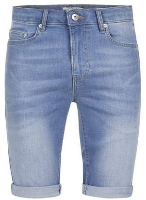 Topman Mens Light Blue Spray On Skinny Shorts