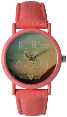 OLIVIA PRATT Olivia Pratt Womens Coral The Best Is Yet To Come Multi-Color Dial Coral Leather Strap Watch 15117