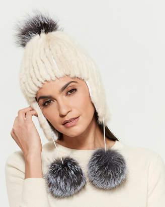Belle Fare Real Fur Pom-Pom Trapper Hat