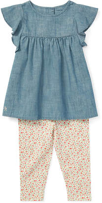 Ralph Lauren Childrenswear Ruffle Chambray Top w/ Floral Leggings, Size 6-24 Months
