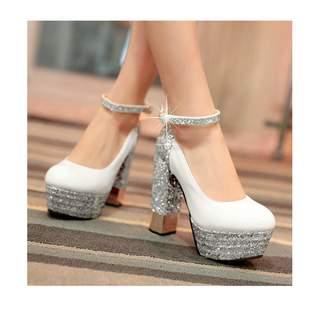 1f985549e1a Angshanxia Fashion Platform Pumps Sexy High-Heeled Shoes Heels Round Toe  Platform Shoes Women s Wedding