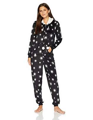 Mae Women's Sleepwear Microfleece Hooded Onesie Pajamas with Poms
