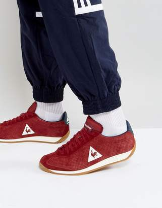 Le Coq Sportif Quartz Perforate Nubuck Trainers In Red 1720087