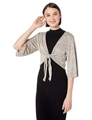Star Vixen Women's Stretch Hacci Knit Tie-Front Shrug Sweater
