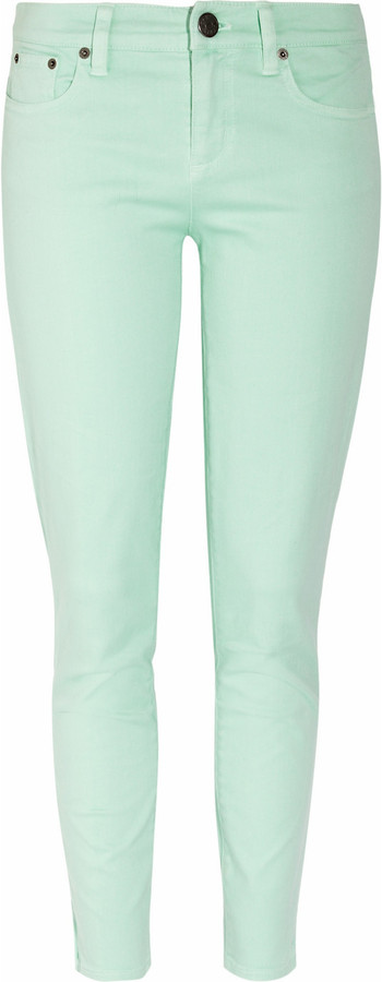 J.Crew Toothpick mint-green cropped mid-rise skinny jeans