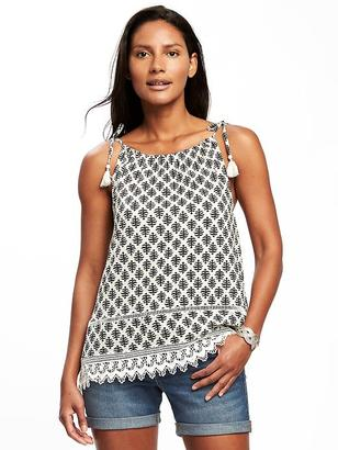 Tie-Strap Crochet-Hem Cami for Women $29.94 thestylecure.com