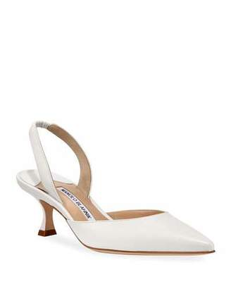 783d173864e Manolo Blahnik Carolyne Low-Heel Leather Slingback Pumps