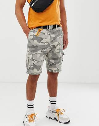Bershka slim fit denim cargo shorts in gray camo print