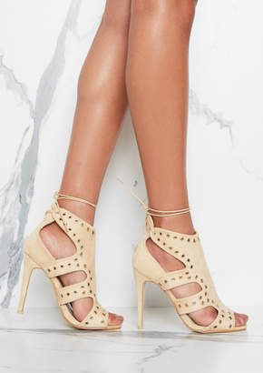 4e6505423d2 Missy Empire Missyempire Aaliyah Cream Suede Eyelet Detail Cut Out Heels