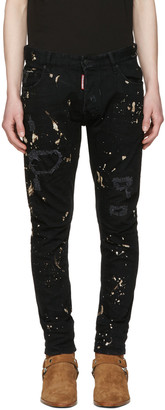 Dsquared2 Black Tidy Biker Acid Wash Jeans $505 thestylecure.com