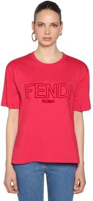 Fendi Oversize Logo Embroidered Jersey T-Shirt