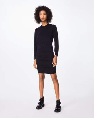 Nicole Miller Stretchy Matte Jersey Ruched Hoodie Dress