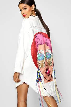 boohoo Embellished Motif Longline Denim Jacket