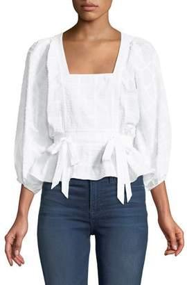 Parker Eliana Textured Cotton Peplum Top
