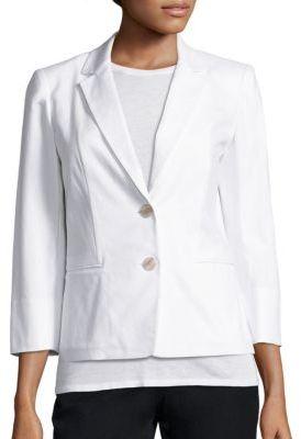 Lafayette 148 New York Daniela Stretch-Cotton Canvas Blazer $498 thestylecure.com
