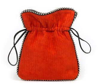 Les Petits Joueurs Trilly Beaded Suede Drawstring Pouch Bag