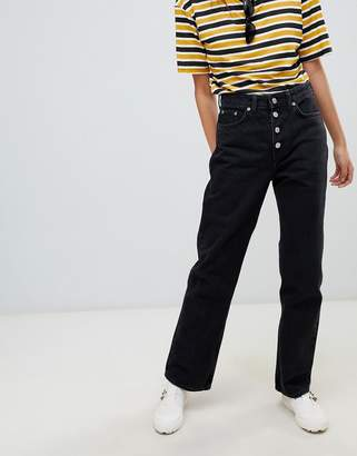 Weekday voyage high waist straight leg button front jeans