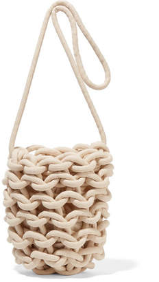Alienina Woven Cotton Shoulder Bag - Off-white