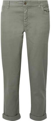 Hatch The Boyfriend Flax-blend Slim-leg Pants