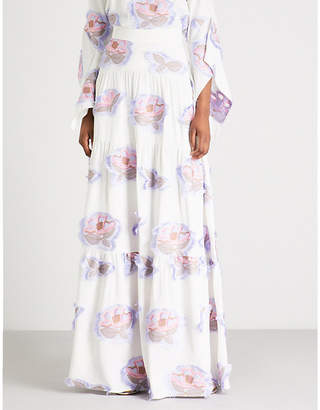 Peter Pilotto Floral-embroidered crepe maxi skirt
