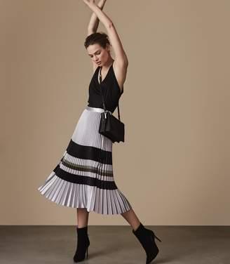 Reiss Sophia Metallic Knife-Pleat Midi Skirt