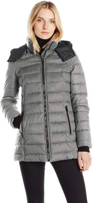"Nautica Women's Hooded Puffer in ""Faux Wool"" Fabric"