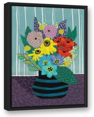 Winston Porter 'Flowers in Striped Vase' Acrylic Painting Print on Canvas