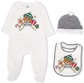 Moschino Kids Teddy Bear print babygrow Christmas set