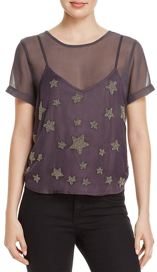 GUESS Colton Layered-Look Beaded Top