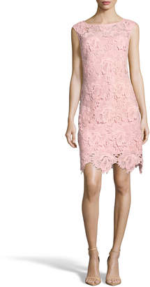 Nicole Miller New York Floral-Applique Illusion Sheath Dress