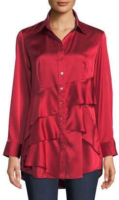 Finley Plus Size Jenna Long-Sleeve Button-Front Tiered Ruffle Satin Blouse