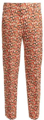 Prada U Print Tailored Wool Blend Trousers - Womens - Orange Print