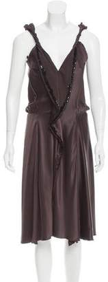 David Szeto Embellished Silk Dress