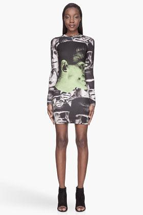 Christopher Kane Green and black Frankenstein Profile Dress