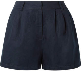 Frame Pleated Lyocell And Linen-blend Shorts - Navy