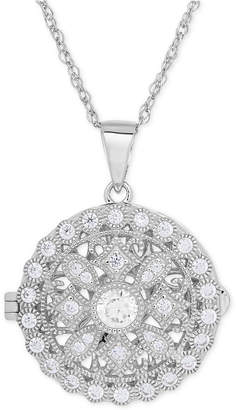 Macy's Cubic Zirconia Round Locket Pendant Necklace in Sterling Silver