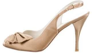 Stuart Weitzman Satin Slingback Sandals