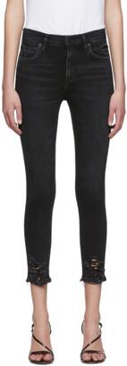 A Gold E Agolde AGOLDE Black Sophie Hi Rise Crop Skinny Jeans