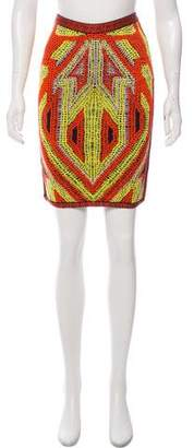 Herve Leger Patterned Pencil Skirt