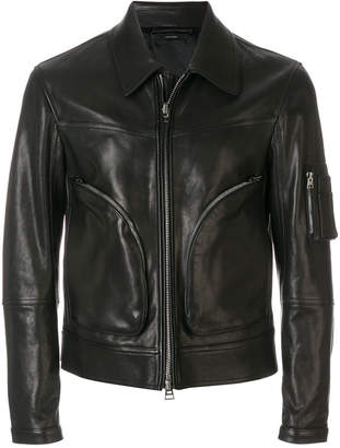 Tom Ford collared zip front biker jacket