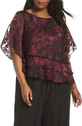 Alex Evenings Tiered Floral Burnout High/Low Blouse